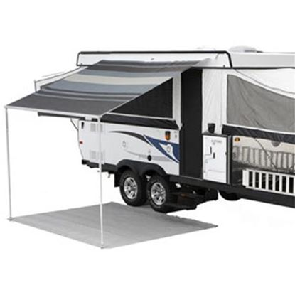 """Picture of Carefree Campout Ocean Blue Vinyl 9' 10""""L X 8' 2""""Ext Adj Pitch Manual Bag Awning 981188E00 00-1023"""