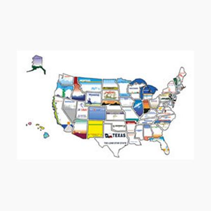 Picture of State Stickers  Permanent State Self Adhesive Vinyl Sticker STATESTICKERMAP 03-0127