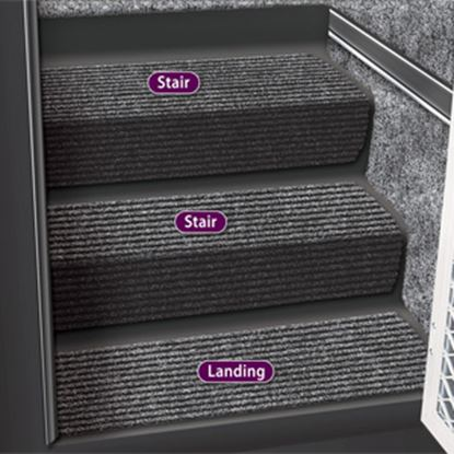 """Picture of Prest-o-Fit Step Huggers (R) 23-1/2""""L x 10""""W Black Granite Step Rug for Landing Steps 5-3090 04-0448"""