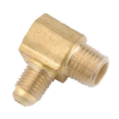 "Picture of Anderson Metal LF 7409 Series 3/8"" OD Tube 45 Deg SAE Flare x 3/8"" MPT Brass Fresh Water 90 Deg Elbow 704049-0606 06-1277"