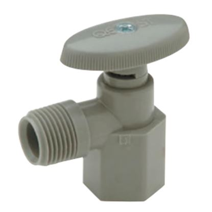 """Picture of QEST Qicktite (R) 1/2"""" FPT x 1/2"""" MPT Acetal Angle Stop Valve  10-3551"""