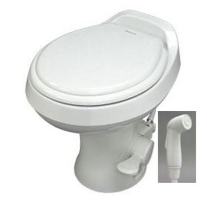 """Picture of Dometic 300 Series Bone 18"""" Pedal Flush Permanent Toilet w/ Hand Sprayer 302300173 12-0018"""