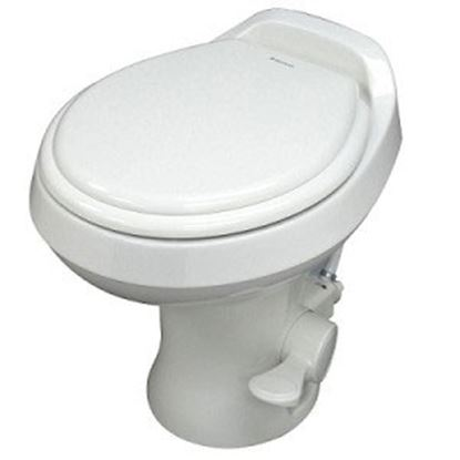 """Picture of Dometic 300 Series White 13-1/2"""" Pedal Flush Permanent Toilet 302301671 12-0040"""
