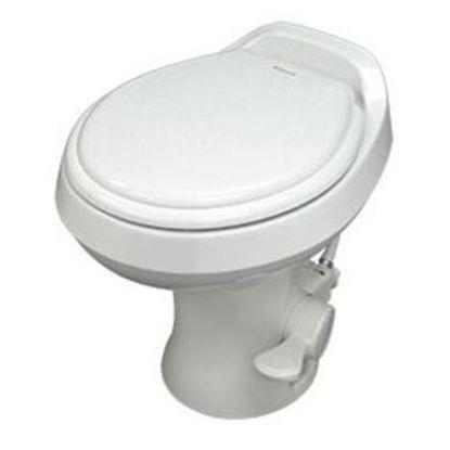 "Picture of Dometic 300 Series Bone 13-1/2"" Pedal Flush Permanent Toilet 302301673 12-0041"