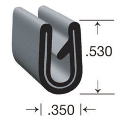"""Picture of Clean Seal  Black 0.35""""W x 0.53""""H x 50'L U-Channel Seal G7033-50 13-1776"""