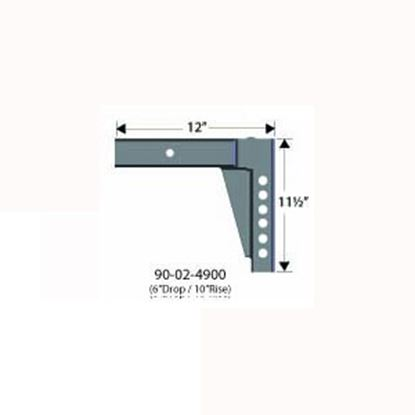 """Picture of Equal-i-zer  12""""L x 10"""" Rise x 6"""" Drop Weight Distribution Hitch Shank 90-02-4900 14-3022"""