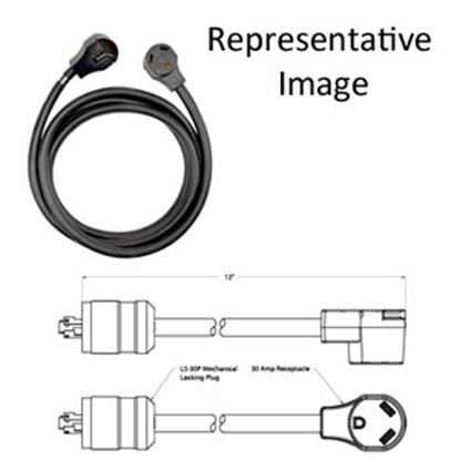 """Picture of Surge Guard  12"""" 30A Locking Extension Cord w/T Pull Handle L530P30F12 69-7648"""