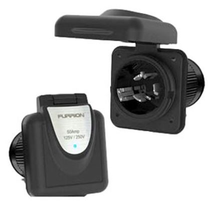 Picture of Furrion  Black 125/250V 50A Outdoor Square Single Receptacle w/ Cover 385702 69-9055